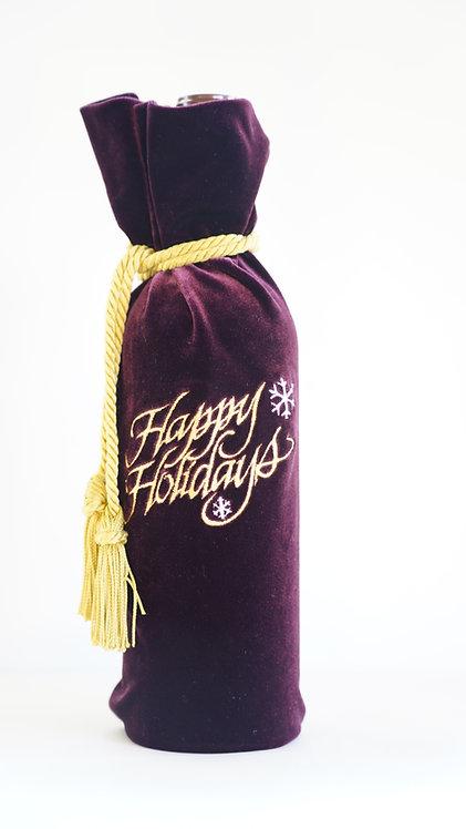 Happy Holidays Velvet Wine Bottle Bag