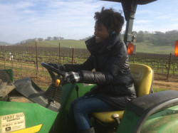 Gaby on the Tractor