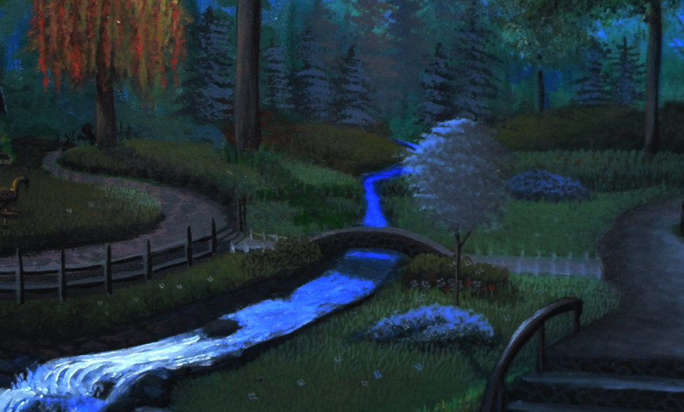 Here's a close up of the stream, bridge, and the stairs