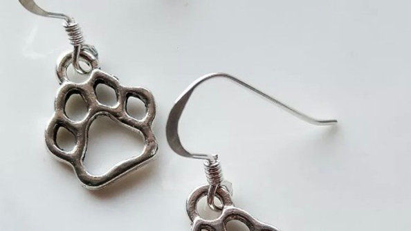 Sterling Silver Paw Drop Earrings