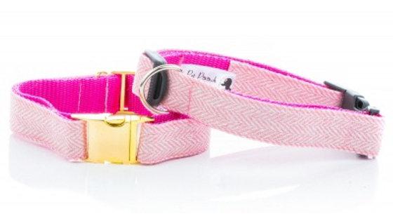 Pink Herringbone Tweed Collar