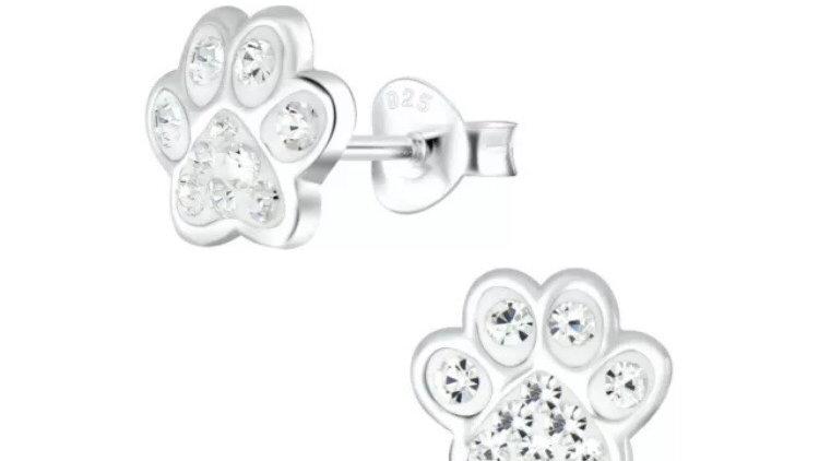 Sterling Silver & Crystal Paw Stud Earrings