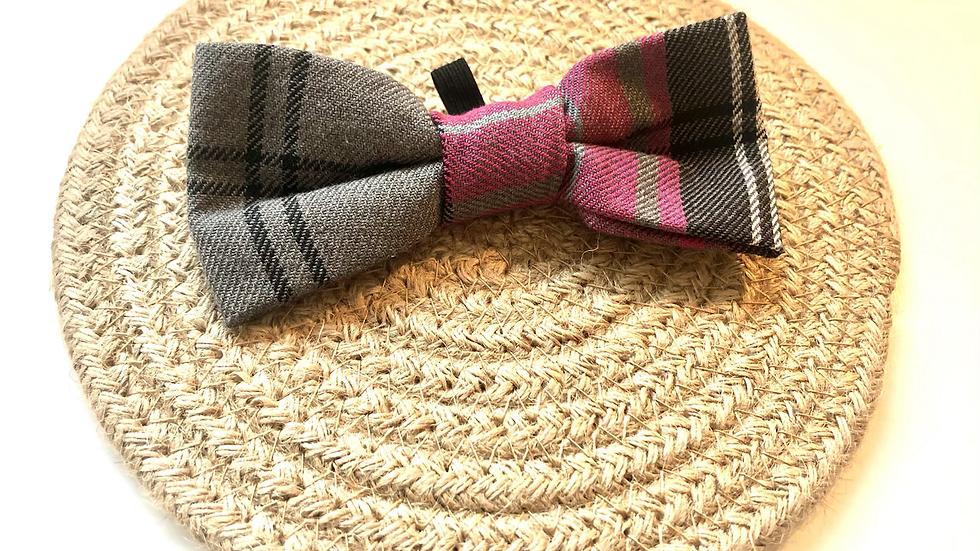 Pink & Grey Check Bow Tie