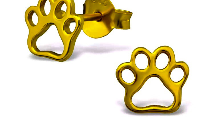 Gold Plated Sterling Silver Paw Stud Earrings