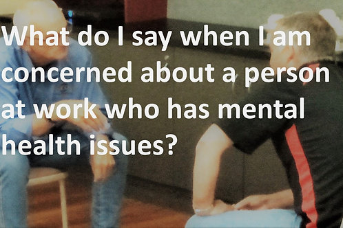 WORKPLACE MENTAL HEALTH SUPPORT. What to do or say when concerned about a co-wor