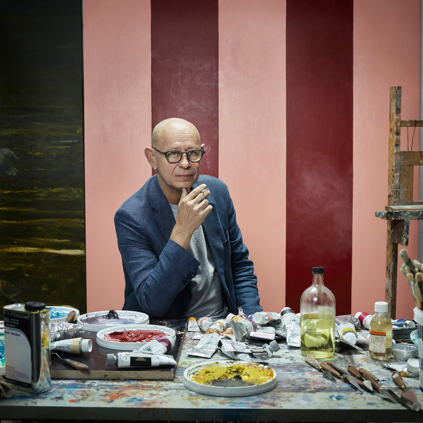 Michael Kvium i atelieret, 2016. Foto Ken Hermann