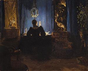 Anna og Michael Ancher Stuen med de blå gardiner (Anna Ancher malet af Michael Ancher) 1892 Olie på lærred 37,3 x 46,3 cm Tilhører Skagens Kunstmuseer. Foto: Skagens Kunstmuseer.