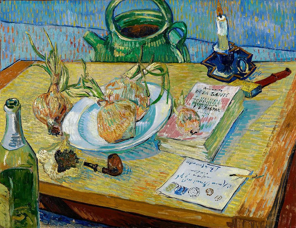 Vincent van Gogh, Stilleben med en tallerken løg, 1889. Coll. Kröller-Müller Museum, Otterlo