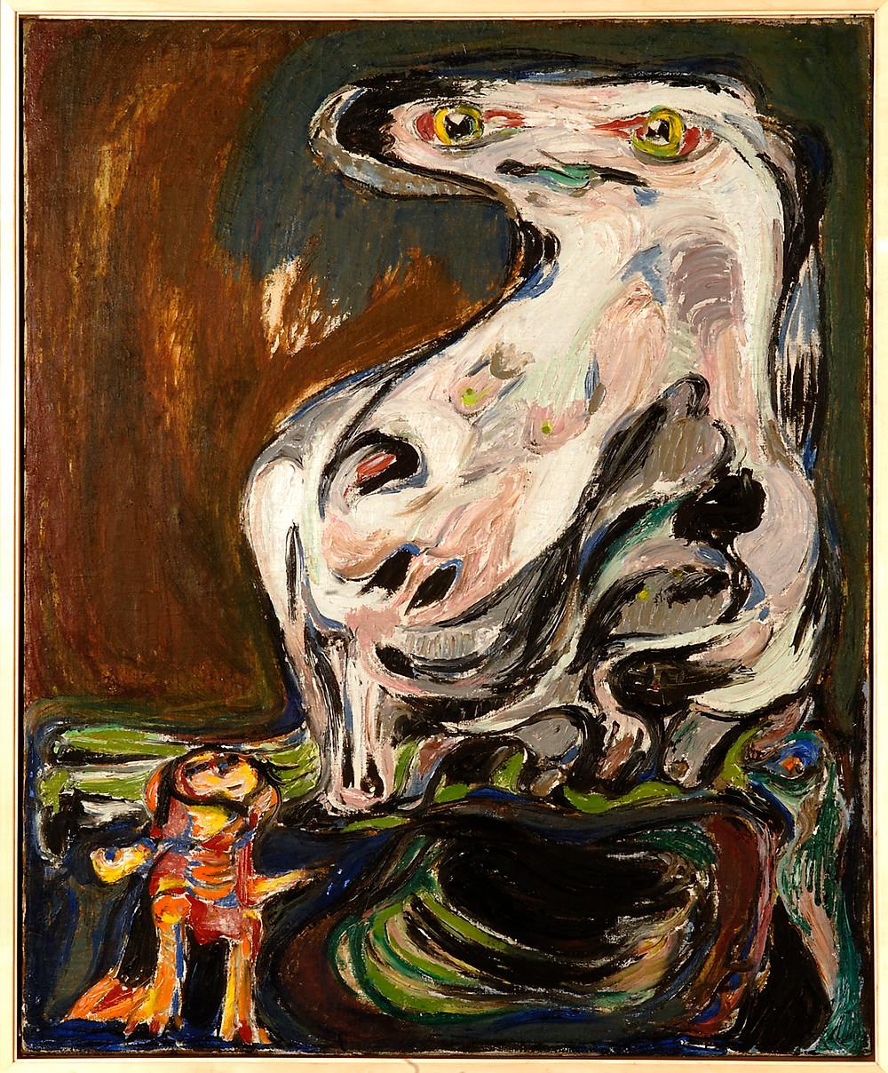 ASGER JORN, 'INTERPLANETARY WOMAN/FEMELLE INTERPLANÉTAIRE', 1953. KUNSTEN MUSEUM OF MODERN ART AALBORG. FOTO: NIELS FABAEK.