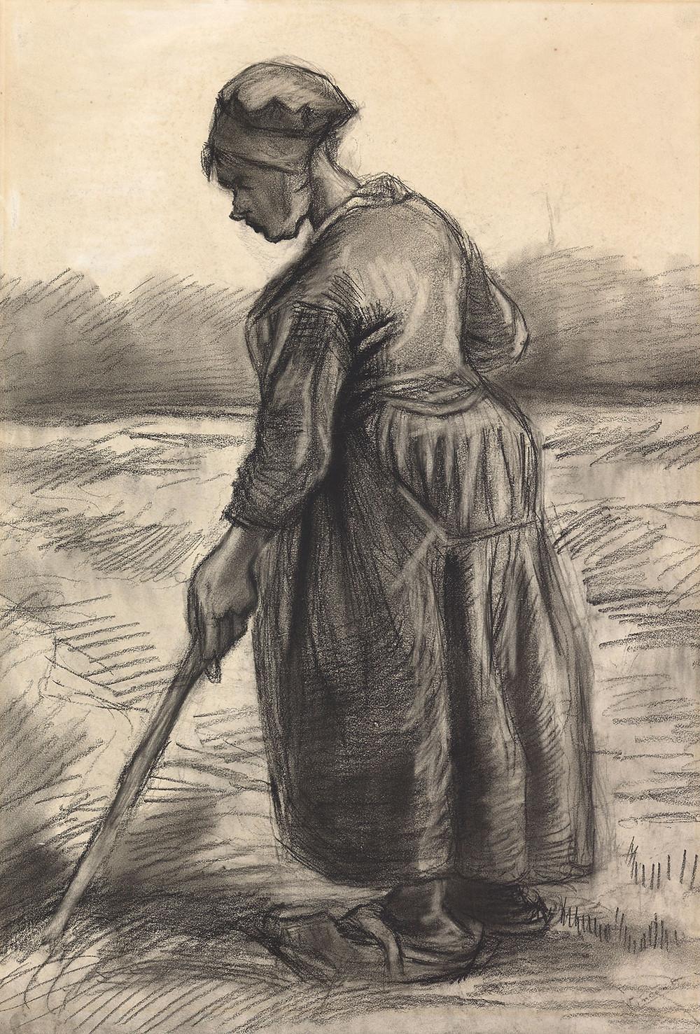 Vincent van Gogh, Bondekone høster, 1885. Coll. Kröller-Müller Museum, Otterlo