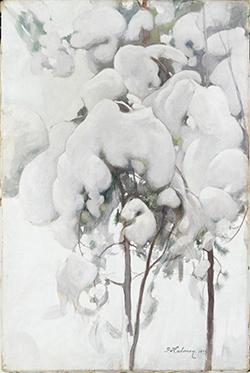 Pekka Halonen Snedækkede fyrreskud 1899 Tempera på lærred. 44,5 x 29,5 cm Finnish National Gallery /Ateneum Art Museum, foto: Finnish National Gallery/Yehia Eweis.