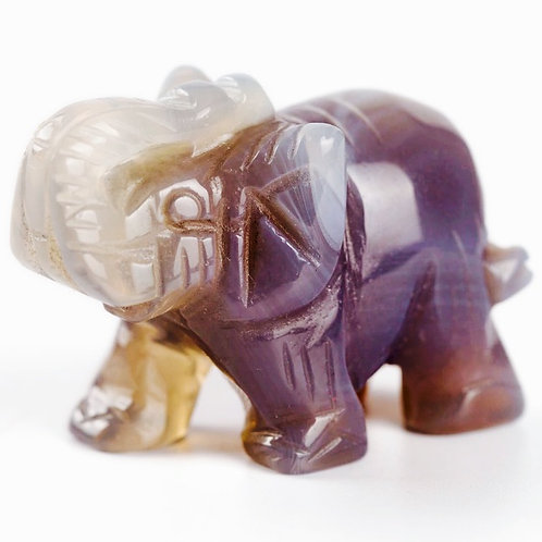 Natural Amethyst Carved Elephant 1.5 inches