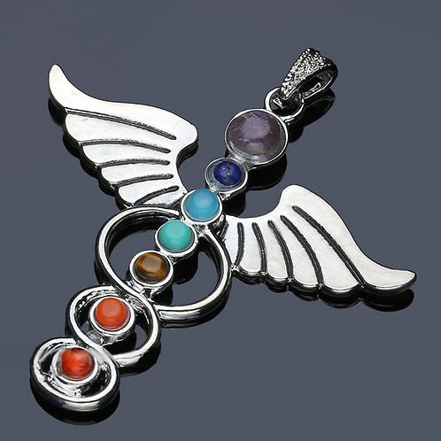 Natural Angel Pendant with 7 Chakra Colors