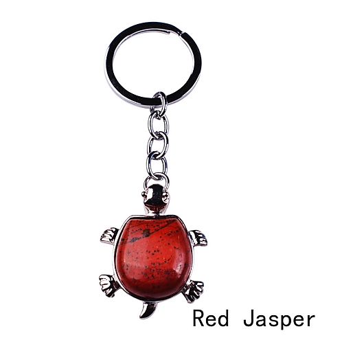 Natural Red Jasper Turtle Keychain