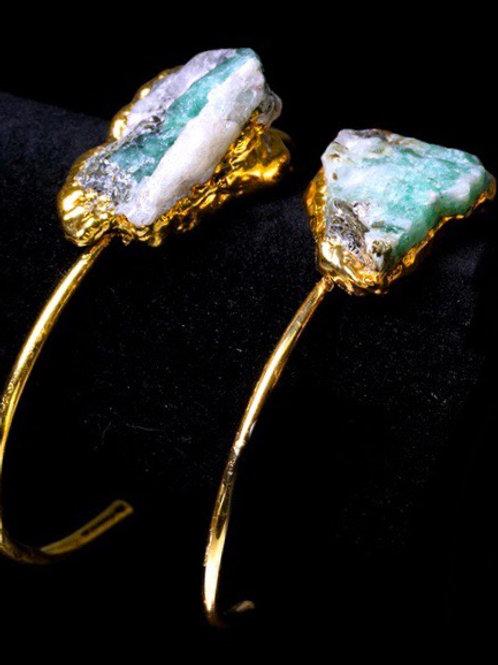Raw Emerald Gold Plated Bangle