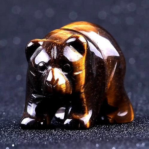 Natural Tiger Eye Carved Bear