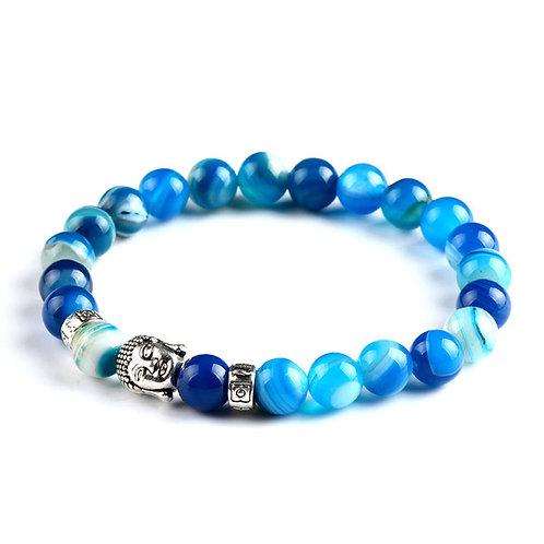 Natural Blue Agate Buddha Bracelet