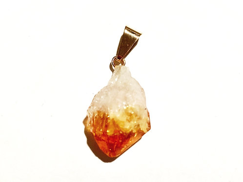 Natural Citrine Gold Plated Pendant