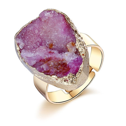 Natural Pink Druzy Adjustable Ring