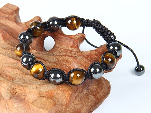 Natural Tiger Eye & Hematite Adjustable Macrame Bracelet 10 mm Grade AAA