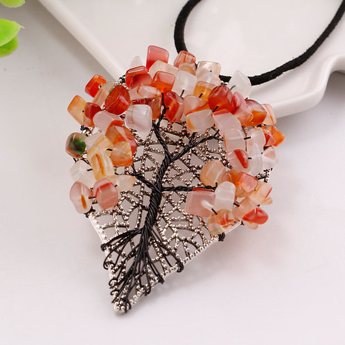 Natural Fall Leaf Chip Crystals Necklace