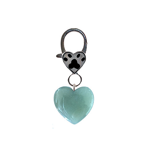 Natural Green Aventurine Heart Pet Charm