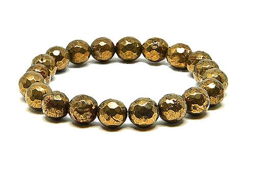 Natural Faceted Pyrite Bracelet 10mm