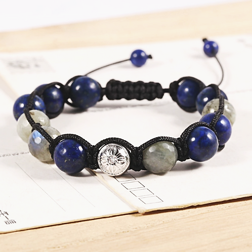 Natural Labradorite & Lapis Adjustable Bracelet 10 mm