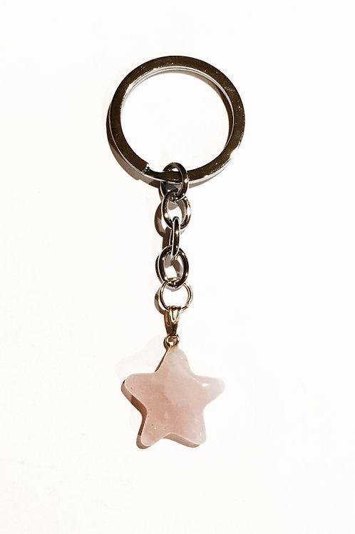 Natural Rose Quartz Star Keychain