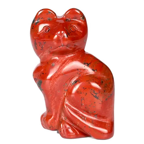 Natural Red Jasper Carved Kitty 2 Inches