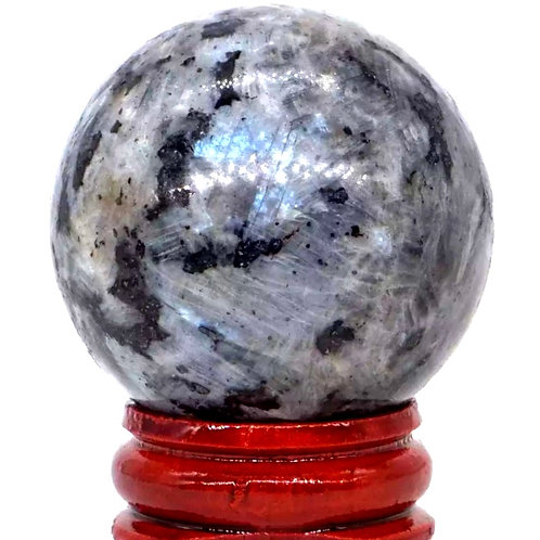 Natural Black Labradorite / Larvikite Sphere 45 mm