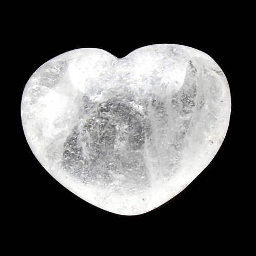 Natural Clear Quartz Carved Heart 30 mm