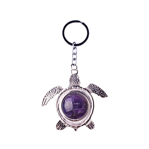 Natural Amethyst Turtle Keychain