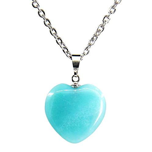 Natural Amazonite Carved Heart Necklace Grade AA