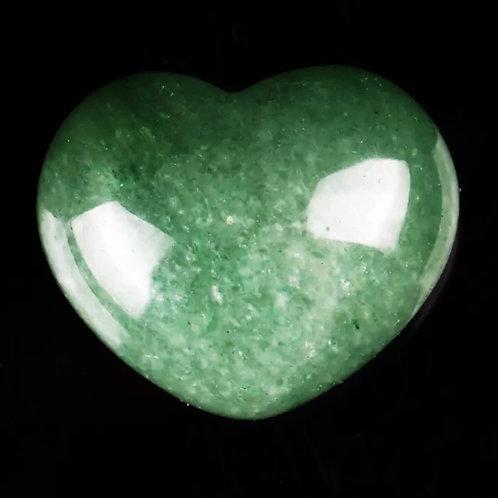 Natural Green Aventurine Puffed Heart 30 mm