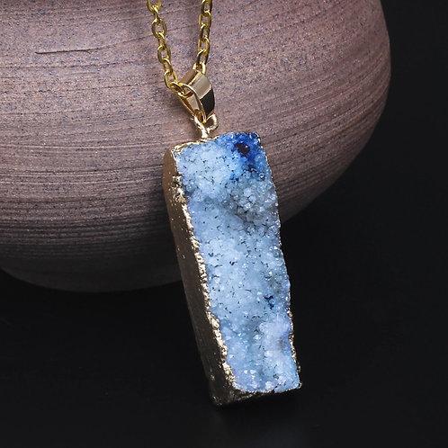 Druzy Blue Geode Point Necklace
