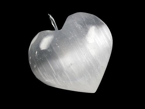 Natural Selenite Heart Pendant