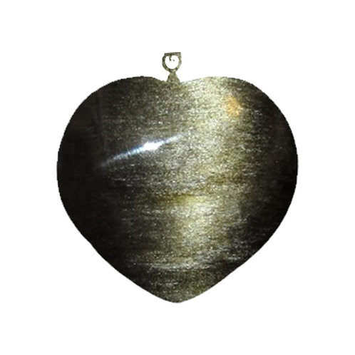 Natural Black Sheen Obsidian Heart Pendant