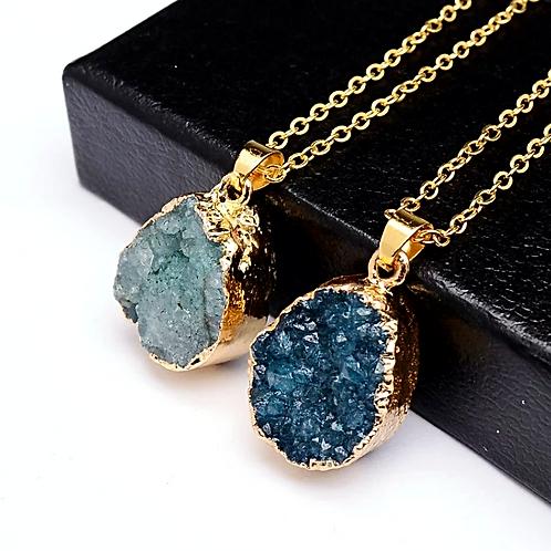 Natural Blue Druzy Geode Necklace