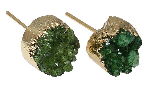 Natural Green Druzy Geode Earrings