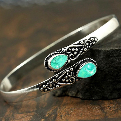 Natural Silver Turquoise Bangle