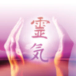 Reiki Hands, purple and pink.