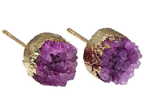 Natural Pink Druzy Geode Earrings