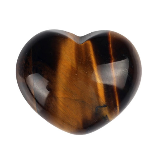 Natural Tiger Eye Carved Heart 30 mm Grade AAA