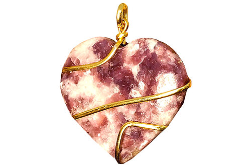 Natural Lepidolite Gold Plated Wrapped Necklace