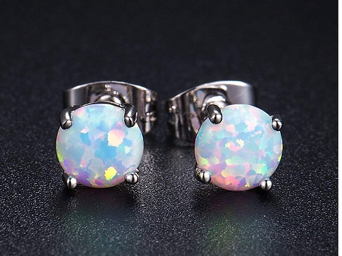 Natural Opal 6mm White Gold Earrings