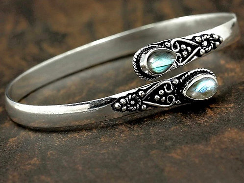 Natural Silver Labradorite Bangle