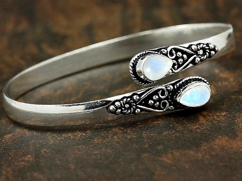Natural Silver Moon Stone Bangle