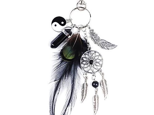 Natural Onyx Ying-Yang Luck Keychain