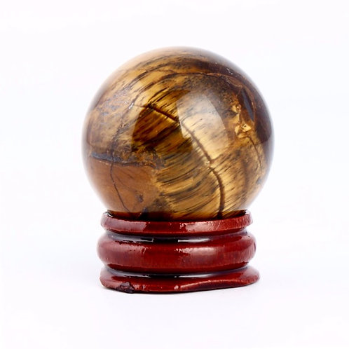 Natural Tiger Eye Ball & Wood Stand (40 mm) Grade AAA